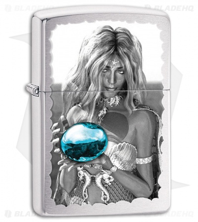 Zippo Lighter Brushed Chrome Mermaid and Orb 28651