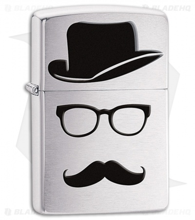 Zippo Lighter Brushed Chrome Moustache And Hat 28648