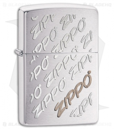 Zippo Lighter Brushed Chrome Script Logo 28642