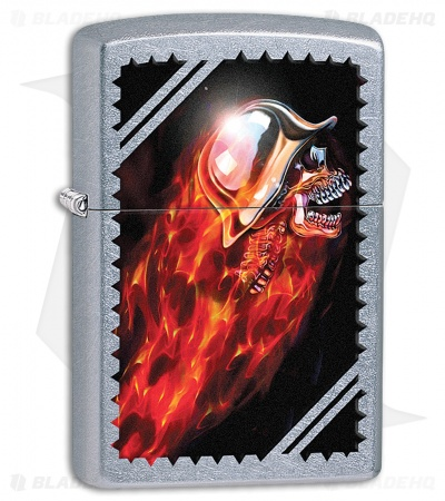 Zippo Lighter Brushed Chrome Skull 11412