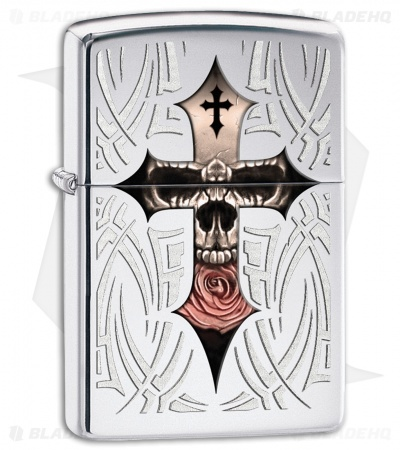 Zippo Lighter Polished Chrome Skull Cross 28874