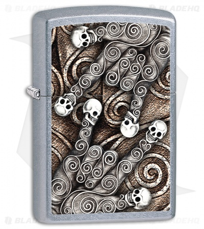 Zippo Lighter Street Chrome Skull Scroll Hand 28869