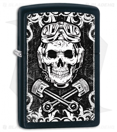 Zippo Lighter Matte Black Skull Wrenches 11445