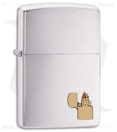Zippo Lighter Brushed Chrome Small Lighter Emblem 11485