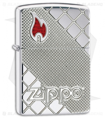Zippo Lighter Polished Chrome Tile Mosaic 11474