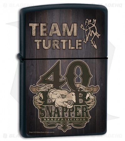 Zippo Lighter Matte Black Turtleman Snappalicious ZPTM4
