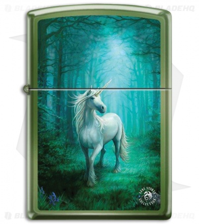 Zippo Lighter Matte Green Forest Unicorn Chameleon 17430