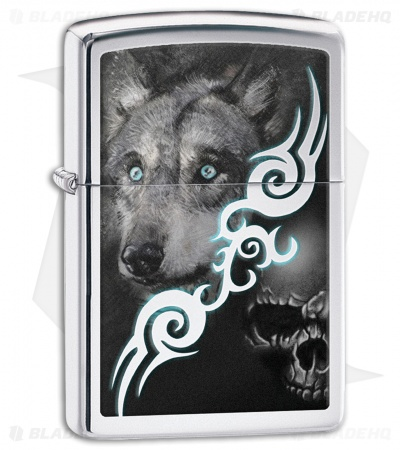 Zippo Lighter Polished Chrome Wolf With Skull 28872