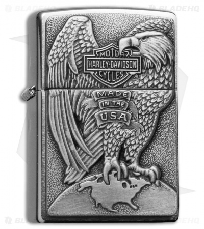 Zippo Classic Lighter Harley Davidson Eagle & Globe (Brushed Chrome) 200HD.H231