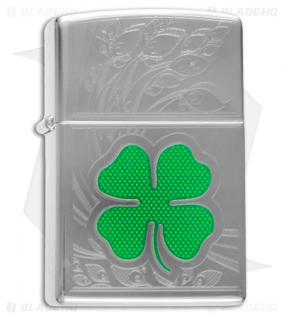 Zippo Classic Lighter Clover + Etching (High Polish Chrome) 24699