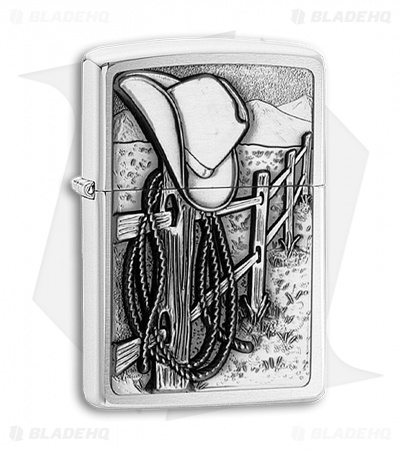 Zippo Lighter - Resting Cowboy 24879 Brushed Chrome