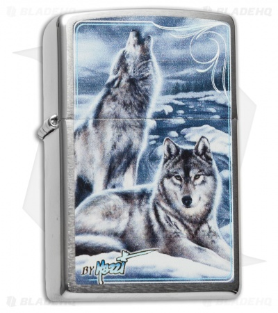 Zippo Classic Lighter Mazzi Winter Wolves (Brushed Chrome) 28002