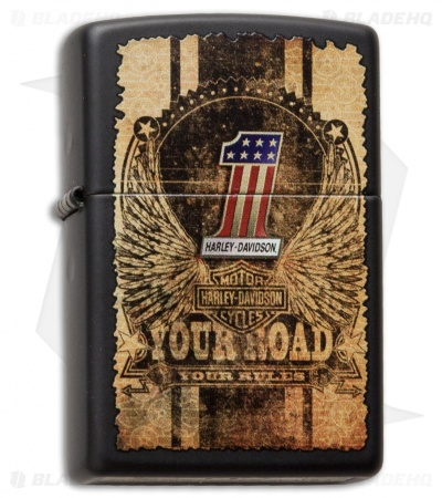 Zippo Classic Lighter Harley Davidson Your Road & Rules (Black Matte) 28350