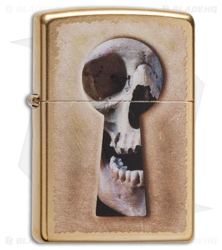 Zippo Classic Lighter Keyhole Skull (Gold Dust) 28540