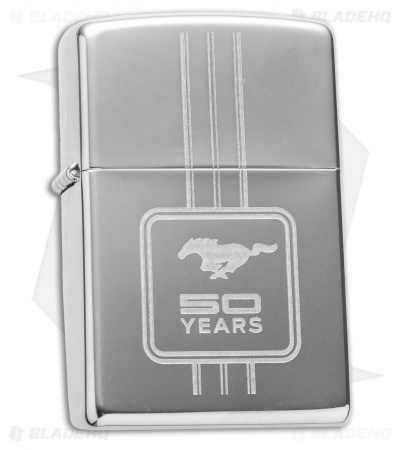 Zippo Classic Lighter Ford Mustang 50 Years (High Polish Chrome) 28542