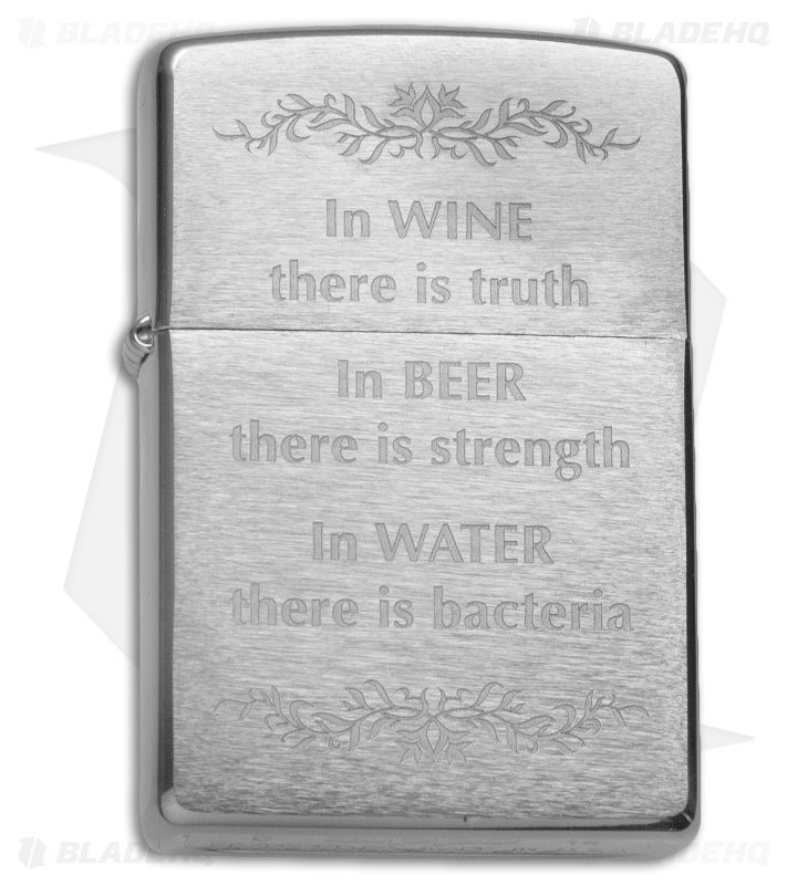 Zippo Classic Lighter In Wine There Is Truth (Brushed Chrome) 28647