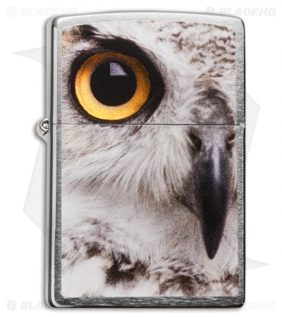 Zippo Classic Lighter Owl Face (Brushed Chrome) 28650