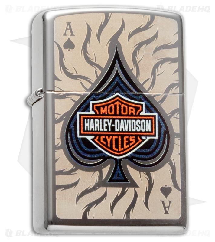 Zippo Clic Lighter Harley Davidson Spade (High Polish Chrome ...