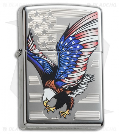 Zippo Classic Lighter Eagle Flag (High Polish Chrome) 28449