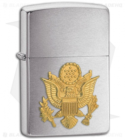 Zippo Lighter Brushed Chrome Army Emblem 280