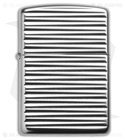 Zippo Lighter Engine Turn Horizon Pattern High Polish Chrome
