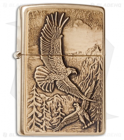 Zippo Classic Lighter Where Eagles Dare (Brushed Brass) 20854