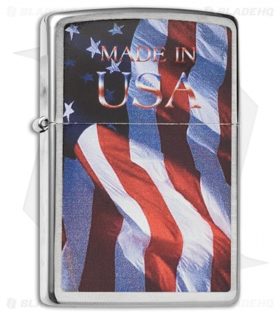Zippo Classic Lighter Made in USA Flag (Street Chrome) 24797