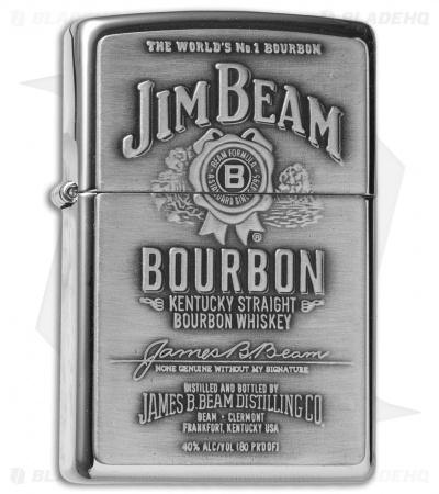 Zippo Classic Lighter Jim Beam Pewter Emblem High Polish