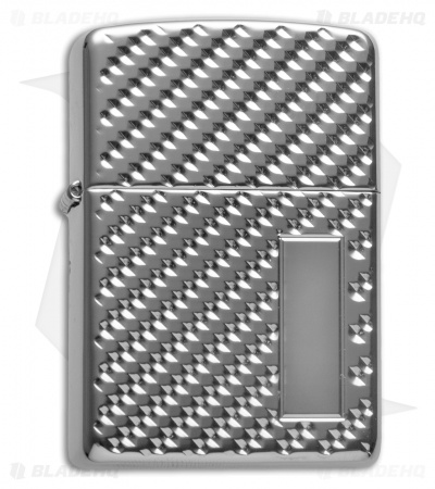Zippo Lighter Engine Turn Pebble Armor (High Polish Chrome)