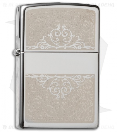 Zippo Classic Lighter Filigree Initial (High Polish Chrome) 28467