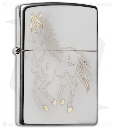 Zippo Classic Lighter Running Horse (Black Ice) 28645