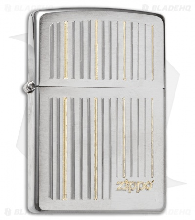 Zippo Classic Lighter Logo & Lines (Brushed Chrome) 28646