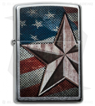 Zippo Classic Lighter Retro Star Brushed Chrome 28653