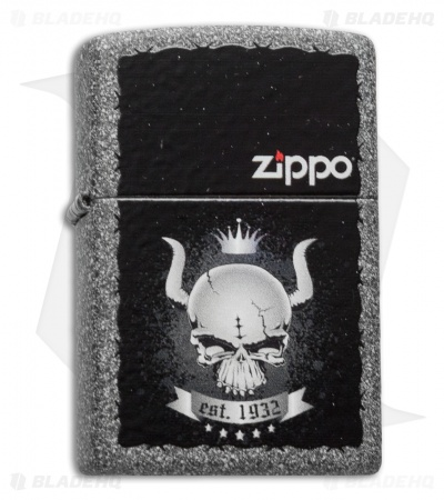Zippo Classic Lighter Skull Crown (Iron Stone Matte) 28660