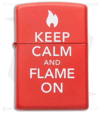 Zippo Classic Lighter Keep Calm and Flame On Matte Red 28671