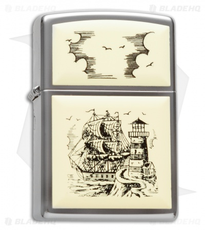 Zippo Classic Lighter Scrimshaw Ship (High Polish Chrome) 359
