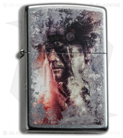 Zippo Classic Lighter Native American (Street Chrome) 28868