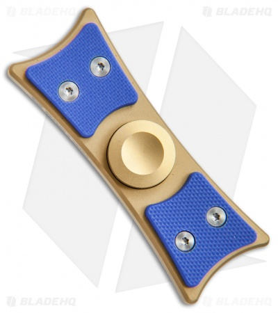Bastion Large EDC Spinner Fidget Toy - Gold Titanium/Blue G-10