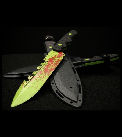 "Brous Blades Coroner Knife Zombie Green Fixed Blade (6.25"" Plain) Limited"