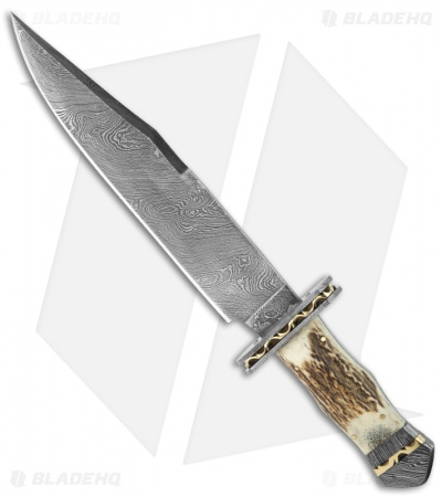 "Buck n Bear Big Game Hunter Fixed w/ Stag Handle (9.5"" Damascus Plain)"