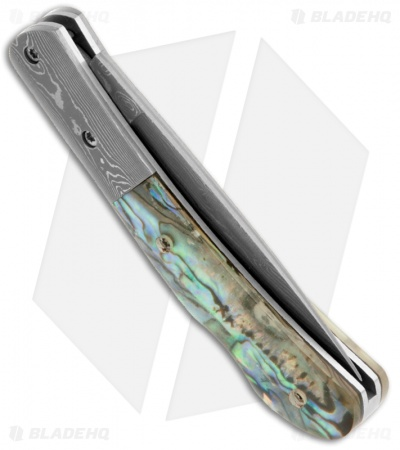 "Buck n Bear Lockback Knife Abalone Shell (2.5"" Damascus)"