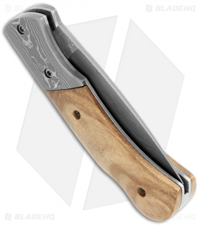 "Buck n Bear Folding Pocket Knife White Birchwood (2.5"" Damascus)"