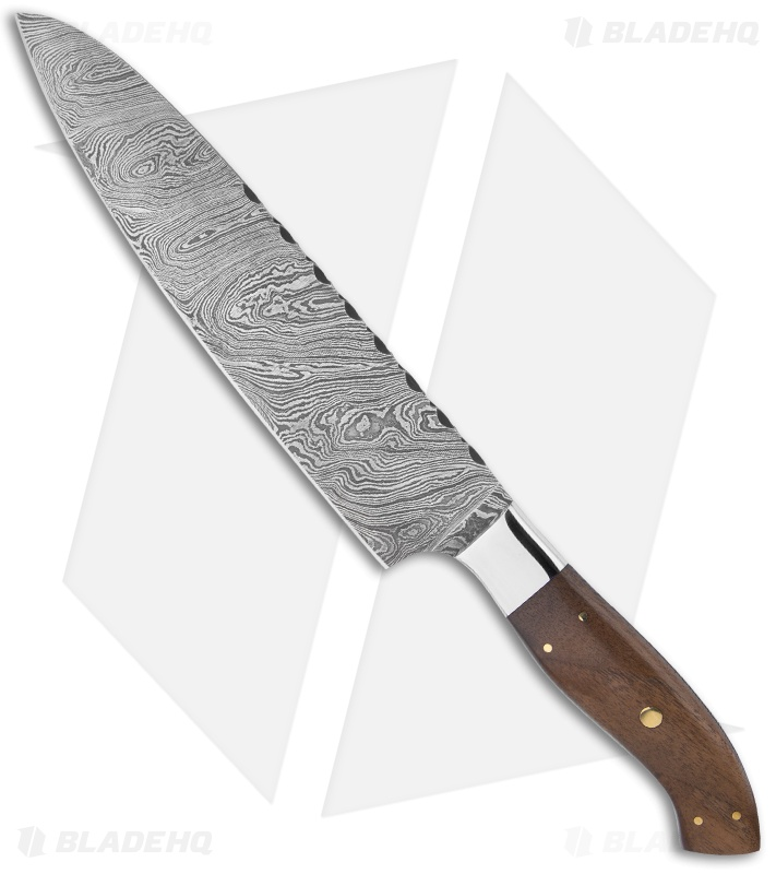 buck n bear 8 chef 39 s kitchen knife filework w walnut handle damascus blade hq. Black Bedroom Furniture Sets. Home Design Ideas