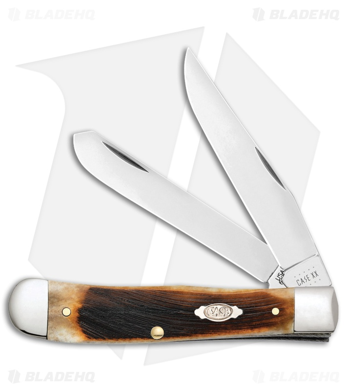 Case Cutlery Sawcut Jig Trapper Knife Dark Molasses Bone  (6254 SS)