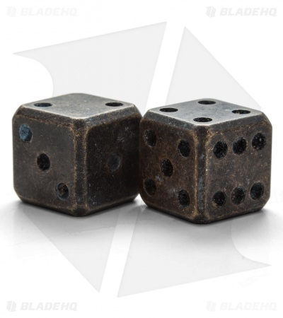 "Flytanium Cuboid Large 3/4"" Brass Dice - Battered Black Patina (Set of 2) D6"