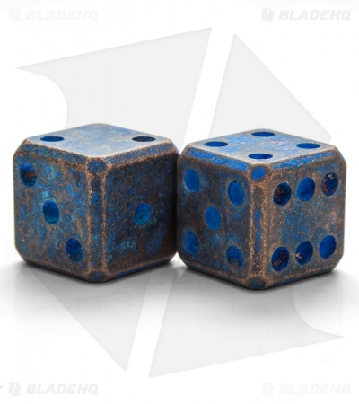 "Flytanium Cuboid Large 3/4"" Copper Dice - Battered Blue Patina (Set of 2) D6"