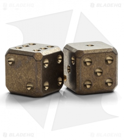 "Flytanium Cuboid Large 3/4"" Titanium Dice - Bronze SW (Set of 2) D6 19mm"