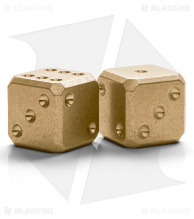 "Flytanium Cuboid Large 3/4"" Brass Dice - Stonewash (Set of 2) D6 19mm"