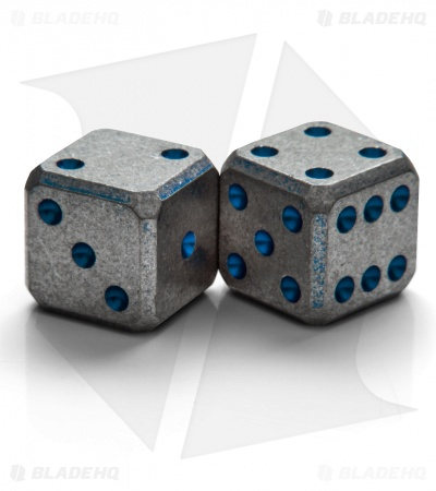 "Flytanium Cuboid Large 3/4"" Titanium Dice - Blue Pips SW (Set of 2) D6 19mm"