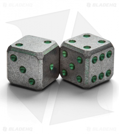 "Flytanium Cuboid Large 3/4"" Titanium Dice - Green Pips SW (Set of 2) D6 19mm"